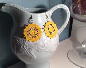 Mustard Yellow Filigree Earrings