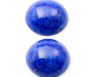 Lot (2) 18mm Czech vintage blue Lapis Lazuli aventurine marbled gemstone round domed glass cabochons B253-4