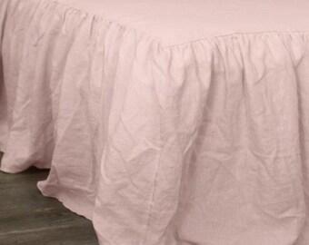 Ruffled Linen Coverlet Shabby Chic Farmhouse Bedding Custom Belgian Linen