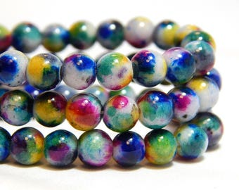6mm Candy Jade, 6mm Mountain Jade, Speckled Jade, Mulitcolor Jade, Multicolor Candy Jade, 6mm Mulit-color Beads, Colorful Beads, B-55B