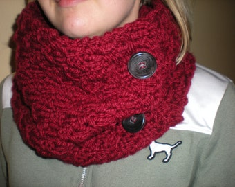 Handknit Women's Cowl, Knit Burgundy Cowl, Girl's Knit Cowl, Women's Burgundy Cowl, Women's Handknit Scarf, Red Knit Scarf