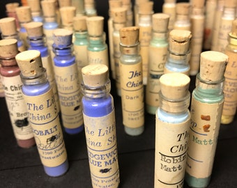Vintage 1920s Glass Vials - China / Porcelian Paint Powder - 6 vials per set