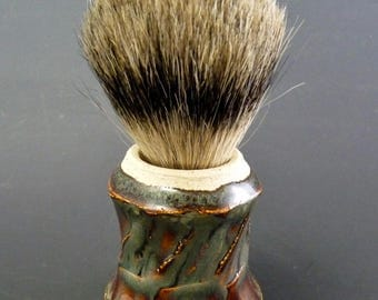 Stoneware Shaving Brush, Badger Knot 19/60mm, Waterfall Brown