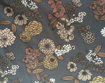 Scandinavian fabric Cotton fabric  Svanefors Floral/Grey  - 150 cm wide