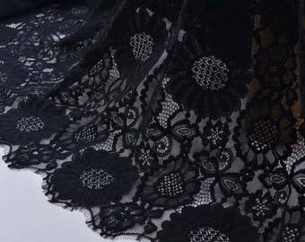 Cotton and nylon Lace Fabric,Black lace fabric for dress, eyelash lace fabric,cored lace ,off white  lace for dress-B1363