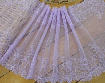 "purple lace,Stretch Lace Trim - Extra Wide Lace Trim, 8.6"" Wide Lace Trim-light purple trimming"