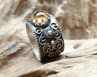 broad silver ring, filigree decorated band, yellow citrine, Norwegian inspired, unique handmade item, cabuchon gemstone, gift for her, boho