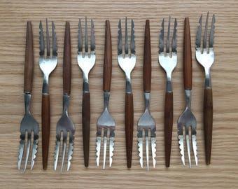 Danish modern wood handle dessert / appetizer forks set of 10