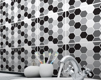 Mosaic Honeycomb Tile Stickers Transfers for Kitchen, Bathroom and Furniture DIY. Hexagonal Geometric