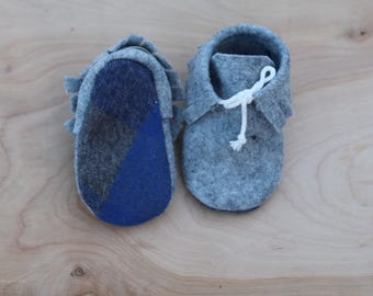 Out of the Blue Wool Moccasin Booties