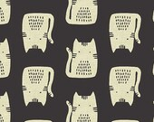 Maker Maker by Andover - Cats in Black -- Cotton/Linen - Fat Quarter