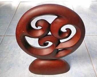 Wood trinity Maori  carving statue. W33