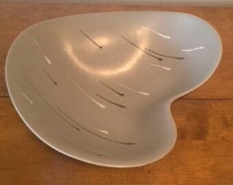 Vintage Mid Century Modern Austrian Large Pottery Grey Amorphous Bowl