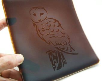 Fused Glass Plate of Barn Owl on Deep Brown Bullseye Glass