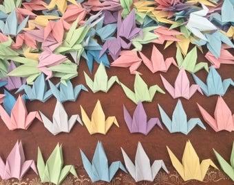 Origami Paper Cranes 9cm X 1000 - Pastel Colour Mix - Origami Birds - Folded Paper Birds - Wedding Decoration - Baby Shower