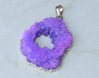Purple Solar Quartz Pendant - Druzy Pendant - Gold Plated Edge and Bail - 34mm x 40mm - 1884