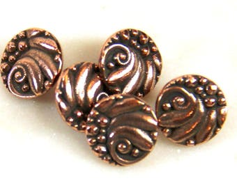 TierraCast Czech Buttons, Metal Shank Buttons, Leather Findings, Jewelry Findings, Antique copper, 4 or More Pieces, 8818