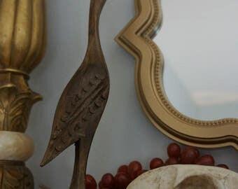 Hand Carved Dowitcher Bird Statue