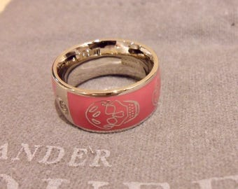 ALEXANDER MCQUEEN Pink Enamel Skull Ring. No longer in stores.