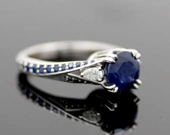Midnight Blues- Sapphires in 14k white gold engagement ring
