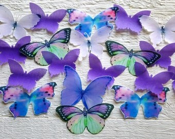 Edible Lavender Wafer  Butterfly Cake / Cupcake Toppers, Set of 24