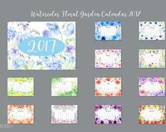 "2017 Calendar printable - watercolor floral garden calendar - 8"" x 11.5"" digital instant download scrapbook kitchen calendar"