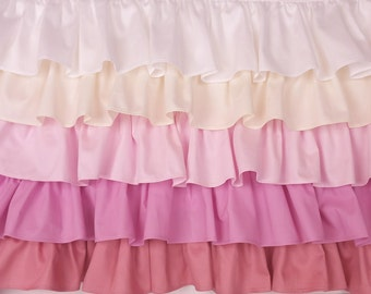 Crib Skirt Ruffle Five Tier, Pink coral and cream Baby Bedding, Made to order