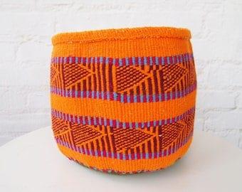 African Yarn Basket // Kenya Kiondo Storage Basket // Woven Planter // Orange, Maroon, Red, Periwinkle