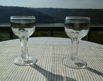 Set of 2 Hollow Stem Vintage Cut Stem Clear Champagne Coupes Toasting Glasses