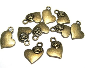 Small Antique Bronze Heart Charms Pendants 14mm