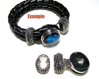 Antique Silver Snap Buttons bracelet Clasps Cord Clasps (No.1)