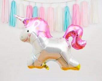 """36"""" Unicorn Mylar Balloon, Unicorn Foil Balloon, Unicorn Balloon, Unicorn Birthday Decor, Unicorn Baby Shower, Unicorn Photo Prop"""