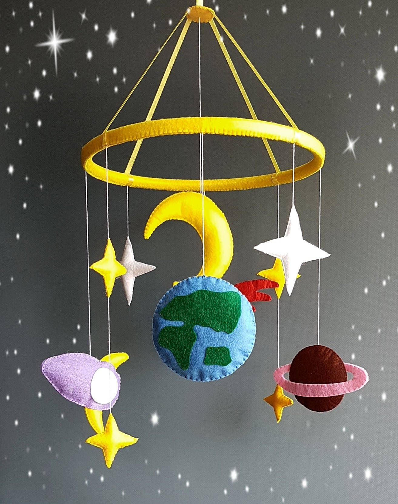Space Baby Mobile Nursery Mobile Baby Felt Crib Mobile Cot