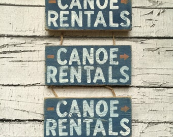 "Canoe Rentals Reclaimed Wood Sign (6x2.75"")"