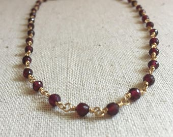 Garnet gemstone gold choker necklace