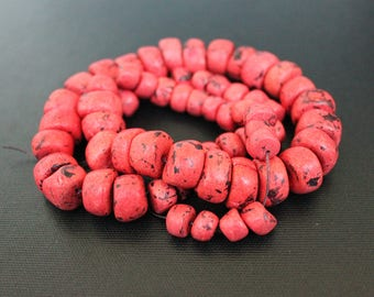 One Tibetan Coral Strand - Himalayan Coral - Graduated Beads - Mala Beads - Jewelry Making - Craft Supplies - Tibetan Beads - Jewelry Supply