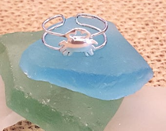 Crab Toe Ring - Sterling Silver Hi Polished - Crab jewelry