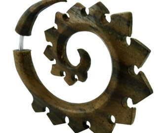 Tribal fake piercing spiral teeth wood unisex carved from Sonoholz stainless steel organic (OHP-48)