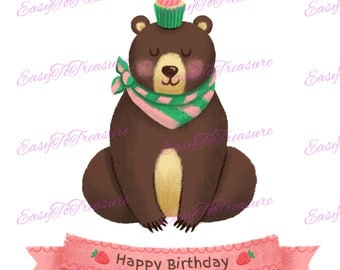 Digital Download Clipart – Happy Birthday Celebration Banner Bear JPEG and PNG files