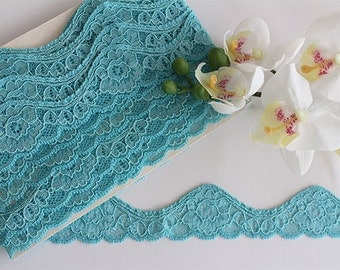 Stretch lace trim, stretch lace, turquoise lace, blue lace, blue lace trim, lace yardage, scallop lace, narrow stretch lace, lace trim, lace