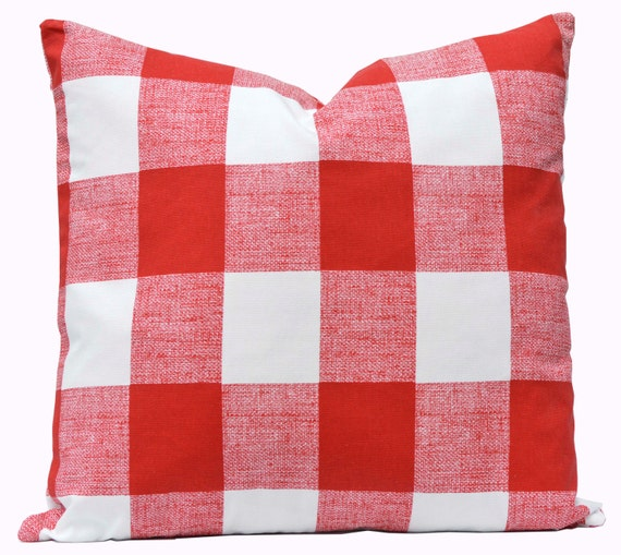 Buffalo Check Pillow Cover - Premier Prints Anderson Lipstick Red Pillow Cover - Valentine Pillow Cover Made to Order with Invisible Zipper