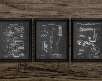 Gun Patent Print Set Of 3 - Hunting Rifle - Shotgun Design - Game Hunting - Hunting Gift Idea - Set Of Three Prints #2237 - INSTANT DOWNLOAD