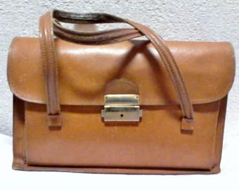 "Handbag in vintage leather color ""honey"""
