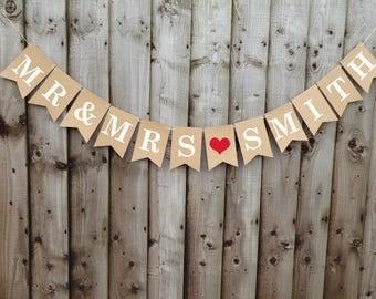 Personalised Mr & Mrs wedding bunting banner, wedding photo prop