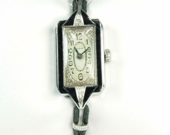 Ladies Watch: Vintage Watch with Diamonds,Elgin Wrist Watch for Women,Diamond Watch,White Gold Watch,Antique Watch with Diamonds,Elgin Watch