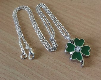 Four Leaf Clover Necklace Lucky Charm Necklace Green Clover Necklace Four Leaf Clover Jewelry