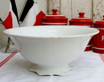 Antique Shabby Chic/Antique Ironstone/White Ironstone Bowl/French Kitchen Bowl/French Chateau/French Cottage decor
