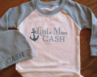 Embroidered Baby Boy gown, Raglan baby boy gown with embroidered name