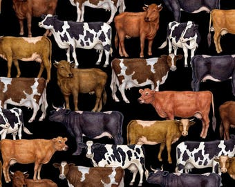 Cow Fabric Fat Quarter, 1/3 Yard, 1/2 Yard, or By-The-Yard; 25978-J; Quilting Treasures; Bountiful; Farm Fabric; Farm Animal Fabric; Cattle