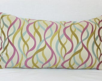 """Purple, green, blue abstract decorative throw pillow cover. 14"""" x 26"""" lumbar pillow cover."""